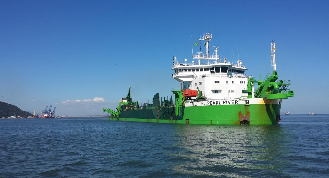 Picture of dredger, Pearl River on sea