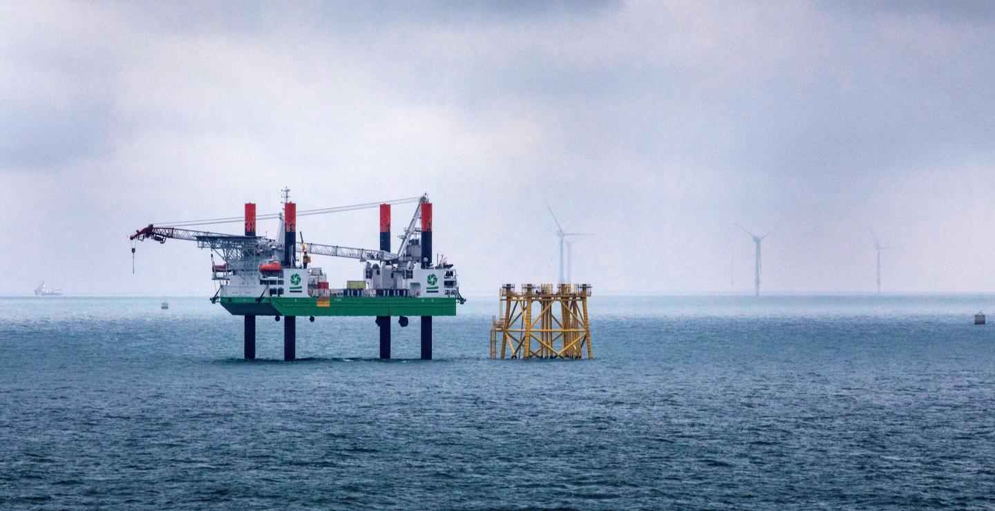 Offshore equipment at Merkur offshore wind farm, Germany